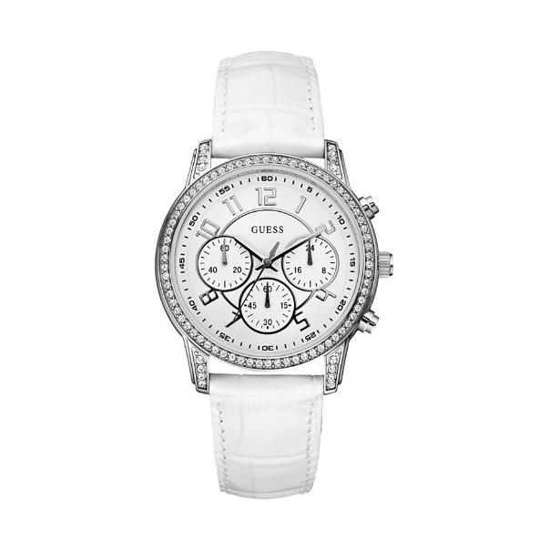 Guess Women's U13602L1 White Leather Quartz Watch