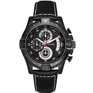 Guess Men's U15067G2 Black Leather Analog Quartz Watch