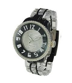 Geneva Platinum Unisex 3293.Black Silver Plastic Quartz Watch