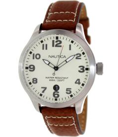 Nautica Men's Leather N09560G Beige Calf Skin Quartz Watch
