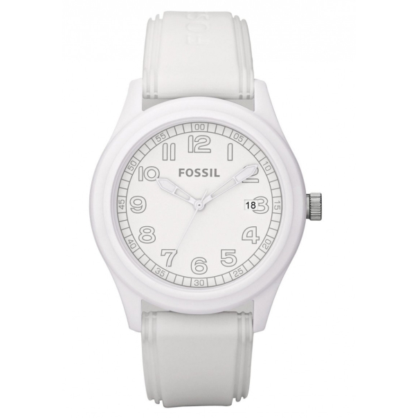 Fossil Men's JR1295 White Silicone Analog Quartz Watch