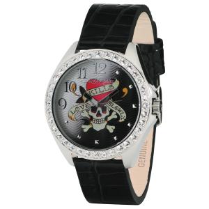 Ed Hardy Women's Starlet SL-LK Black Calf Skin Analog Quartz Watch