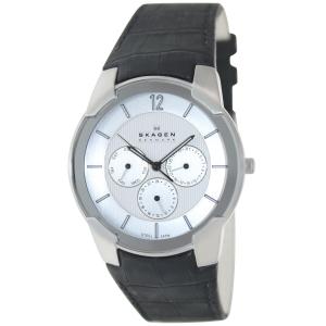 Skagen Men's 856XLSLC White Leather Quartz Watch