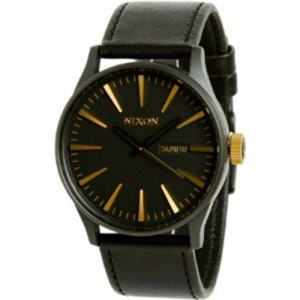Nixon Men's Sentry A1051041 Black Leather Quartz Watch