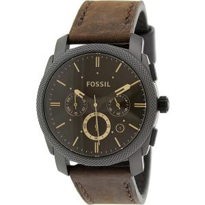 Fossil Men's Machine FS4656 Brown Leather Analog Quartz Watch