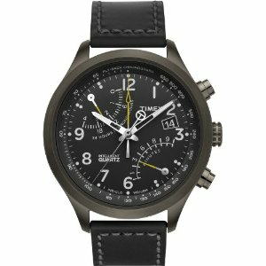 Timex Men's T2N699 Black Calf Skin Quartz Watch