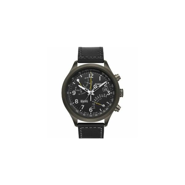 Timex Men's T2N699 Black Calf Skin Quartz Watch