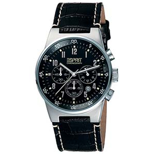 Esprit Men's ES000T31020 Black Leather Quartz Watch