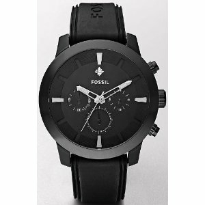 Fossil Men's  Chronograph FS4619 Black Silicone Analog Quartz Watch