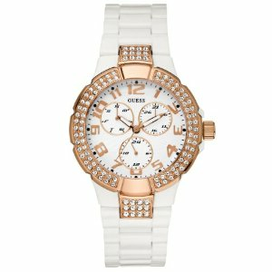 Guess Women's U13608L1 White Polyurethane Quartz Watch