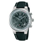 Casio Men's EF500L-1AV Black Leather Quartz Watch