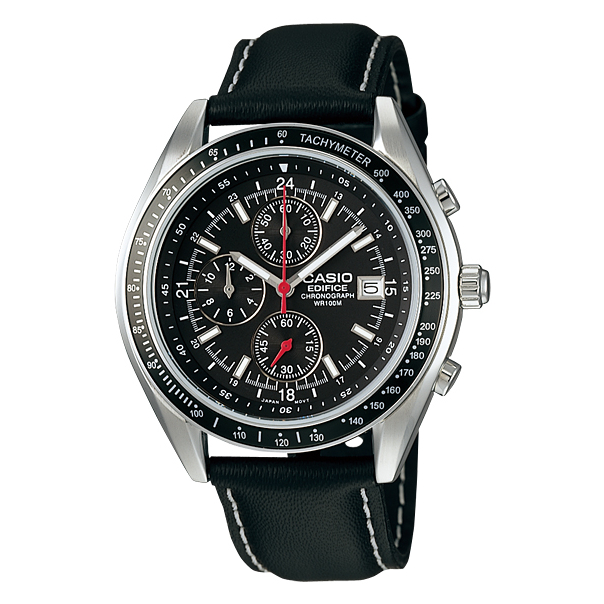 Casio Men's Edifice EF503L-1AV Black Leather Quartz Watch