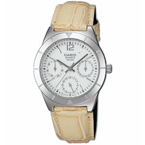 Casio Women's Core LTP2069L-7A1V Beige Leather Analog Quartz Watch