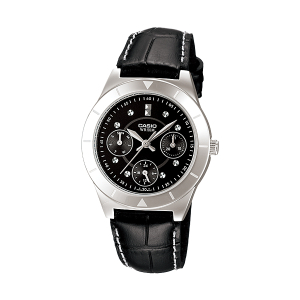 Casio Women's Core LTP2083L-1AV Black Leather Quartz Watch
