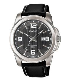 Casio Men's Core MTP1314L-8AV Silver Leather Quartz Watch