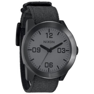 Nixon Men's Corporal A2431062 Black Cloth Analog Quartz Watch