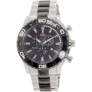 Swiss Precimax Men's Valor Elite SP12056 Silver/Black Stainless-Steel Swiss Chronograph Watch