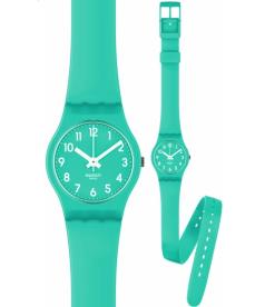 Swatch Women's Originals LL115 Green Rubber Quartz Watch