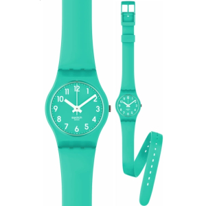 Swatch Women's Originals LL115 Green Rubber Quartz Watch