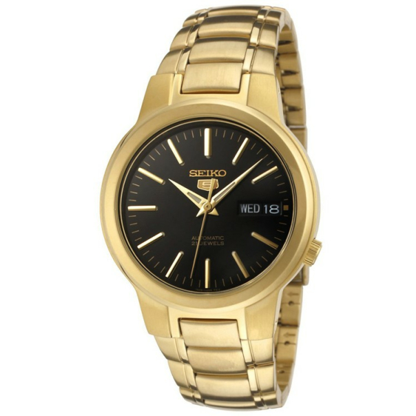 Seiko Men's 5 Automatic SNKA12K Black Gold Tone Stainles-Steel Automatic Watch