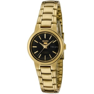 Seiko Women's 5 Automatic SYME48K Black Gold Tone Stainles-Steel Automatic Watch