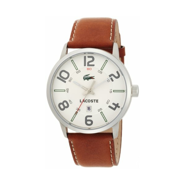 Lacoste Men's Barcelona 2010498 White Leather Quartz Watch