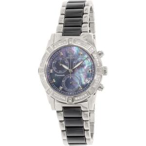 Swiss Precimax Women's Desire Elite Ceramic Diamond SP12076 Silver Ceramic Swiss Quartz Watch