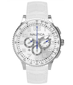 Nautica Women's Sport N22598M White Leather Quartz Watch