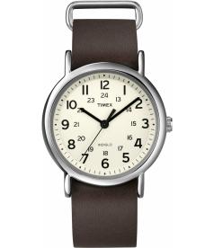 Timex Men's Weekender T2N893 White Calf Skin Quartz Watch