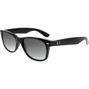 Ray-Ban Men's Polarized New Wayfarer RB2132-901/58-55 Black Oval Sunglasses