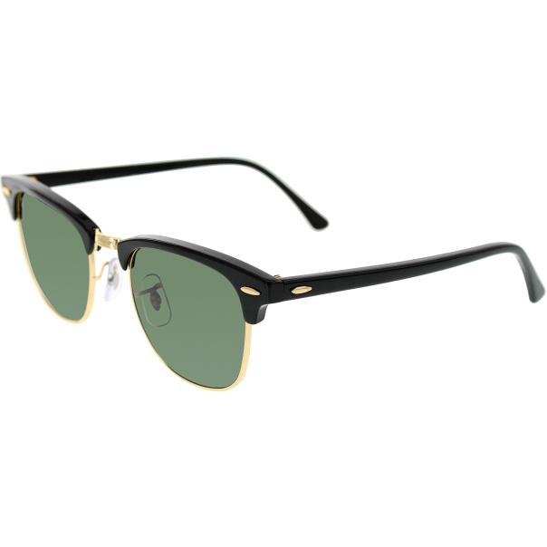 Rimless Clubmaster Glasses : Ray-Ban Mens Clubmaster RB3016-W0365-49 Black Semi ...