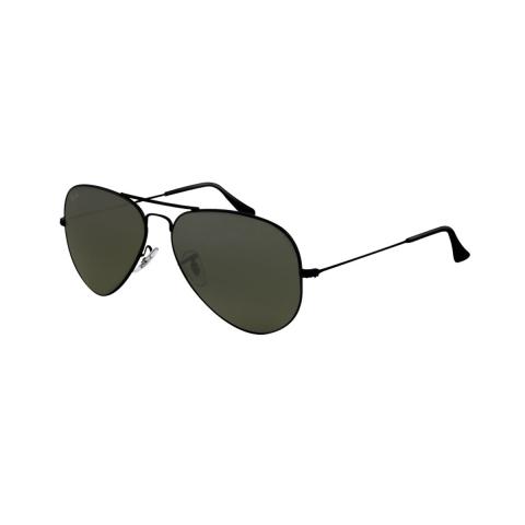 Ray-Ban Men's Polarized Aviator RB3025-002/58-58 Black Sunglasses