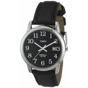 Timex Men's Easy Reader T2N370 Black Calf Skin Analog Quartz Watch