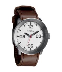 Nixon Men's Corporal A2431113 Silver Leather Quartz Watch