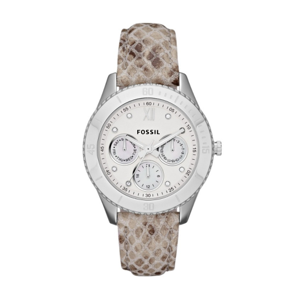 Fossil Women's Stella ES3124 Mother-Of-Pearl Leather Quartz Watch