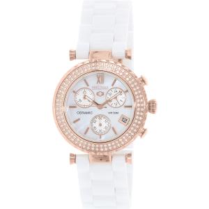 Precimax Women's Lily Elite Crystal PX13191 White Ceramic Quartz Watch