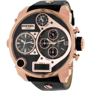 Diesel Men's Mr.Daddy DZ7261 Black Leather Analog Quartz Watch