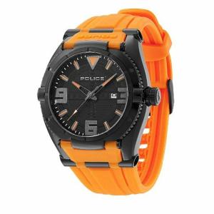 Police Men's Raptor PL.13093JSB/02A Orange Rubber Quartz Watch