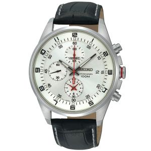 Seiko Men's SNDC87P2 Black Leather Quartz Watch