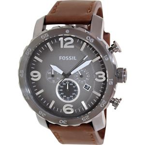 Fossil Men's Nate JR1424 Black Leather Quartz Watch