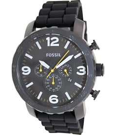 Fossil Men's Nate JR1425 Black Silicone Analog Quartz Watch