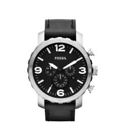 Fossil Men's Nate JR1436 Black Calf Skin Analog Quartz Watch