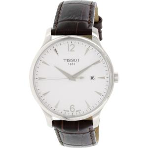 Tissot Men's T063.610.16.037.00 Silver Leather Swiss Quartz Watch