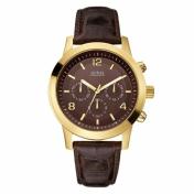 Guess Men's U11059G2 Brown Leather Quartz Watch