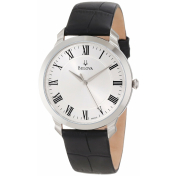 Bulova Men's Dress 96A133 Silver Calf Skin Quartz Watch