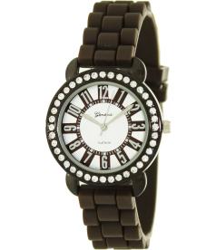Geneva Platinum Women's 2718.Brown Silver Silicone Quartz Watch