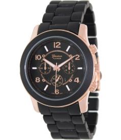 Geneva Platinum Women's 9158.RoseGold.Black Black Stainless-Steel Quartz Watch