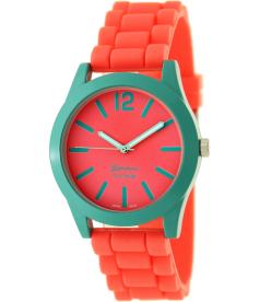 Geneva Platinum Women's 9638.Teal.Red Red Silicone Quartz Watch