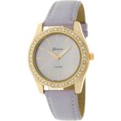 Geneva Platinum Women's 9688.Gold.Purple Purple Leather Quartz Watch