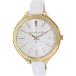 Michael Kors Women's Runway MK2273 White Leather Analog Quartz Watch